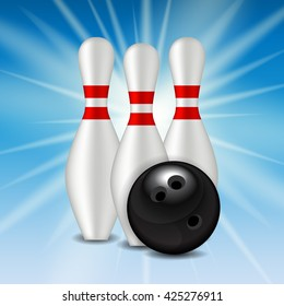 Skittles and Bowling Ball Background Vector Illustration