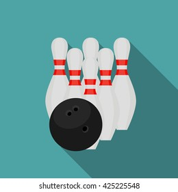 Skittles and Bowling Ball Flat Style Icon with Long Shadow Vector Illustration