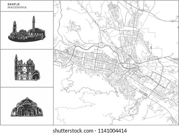 Skopje city map with hand-drawn architecture icons. All drawigns, map and background separated for easy color change. Easy repositioning in vector version.