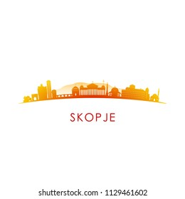 Skopje skyline silhouette. Vector design colorful illustration.