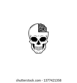 skul and brain to smart logo