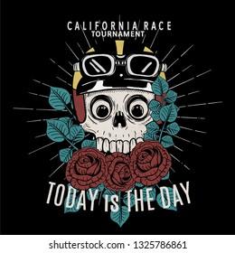 skul race rider drawing for t-shirt print
