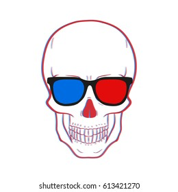 b6cd5afd3529 Skull with 3d glasses Vector. Isolated.