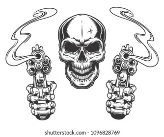 Skull aiming with two revolvers. Vector illustration