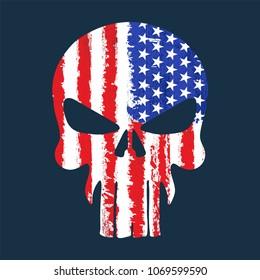 Skull with American flag illustration, T-Shirt graphics, vector design