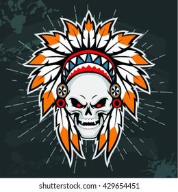 Skull with american indian headdress. Vector illustration