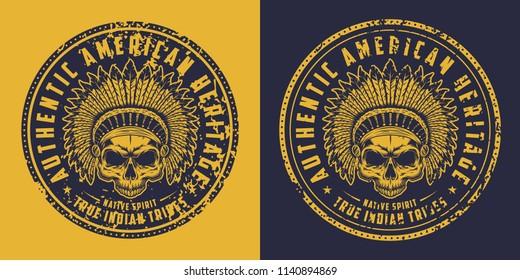Skull of american indian tribe logo. Vector illustration