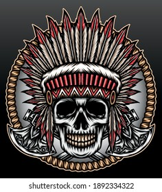 Skull american native head. Premium vector