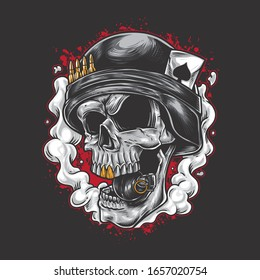 Skull army cartoon bite grenade wearing military helmet