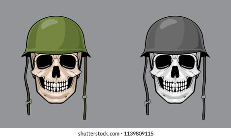 skull in army helmet, colorful and greyscale