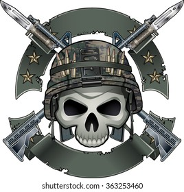 skull with army helmet crossing assault rifles with fixed bayonets and banners