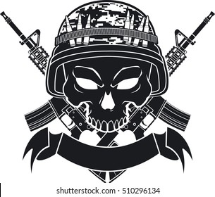 skull with army helmet crossing assault rifles and banner