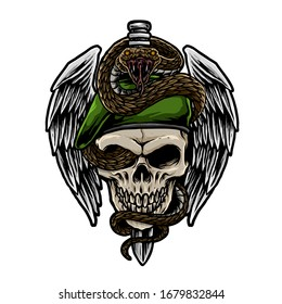 skull army with snake vector illustration
