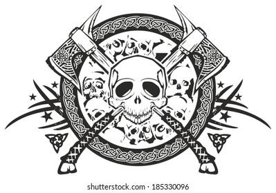 skull axe dead war