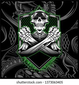 skull bandana hand drawing vector