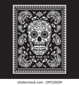 Skull bandana illustration, typography, t-shirt graphics, vectors
