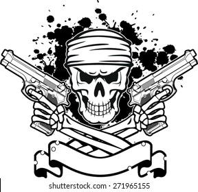skull with bandana, pistols  and banner