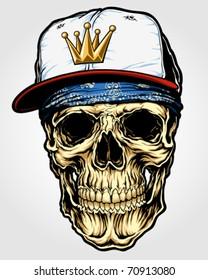 Skull with Bandanna and Cap