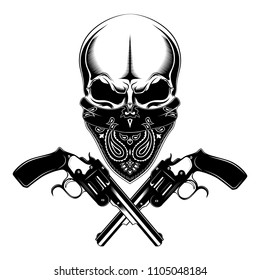A skull in a bandanna with pistols. Black and white vector image.