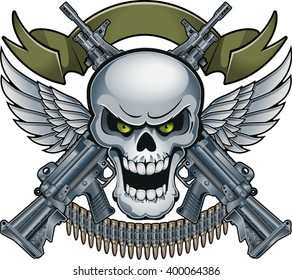 skull with banner, wings and crossing machine guns