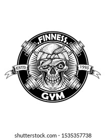skull and barbell logo template for gym fitness-Vector