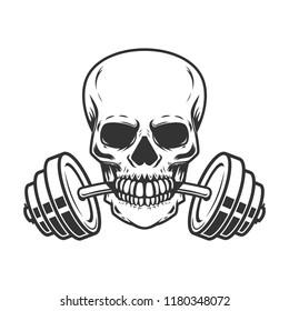 Skull with barbell in teeth. Design element for gym logo, label, emblem, sign, poster, t shirt. Vector image
