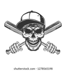 Skull in baseball cap and bandana with skeleton hands holding bats in vintage monochrome style isolated vector illustration