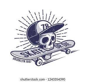 Skull in baseball cap keeps skateboard in his mouth - urban retro skateboarding emblem tattoo. Worn grunge texture on a separate layer