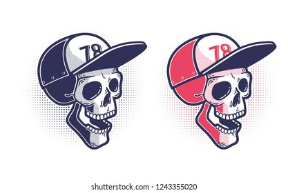 Skull in a baseball cap - print tattoo in the style of pop art youth culture