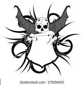 skull bat wings sticker tattoo in vector format