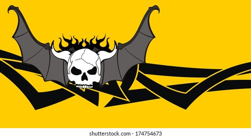 skull bat wings style background in vector format very easy to edit
