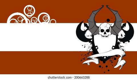 skull bat wings tattoo card in vector format very easy to edit