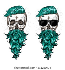 Skull with beard and mustache.
