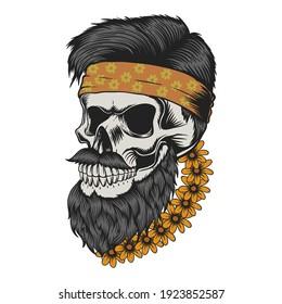 Skull beard mustache flower vector illustration for your company or brand