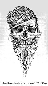 Skull with beard and mustache in a hipster knitted cap. Vector illustration.