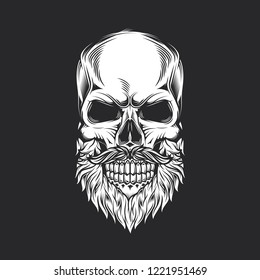 Skull with beard and mustache in vintage style. Monochrome vector illustration.