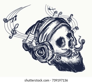 Skull of the bearded hipster in earphone listens to music tattoo and t-shirt design