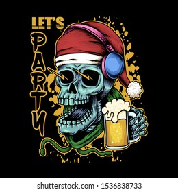 Skull beer christmas illustration for your company or brand