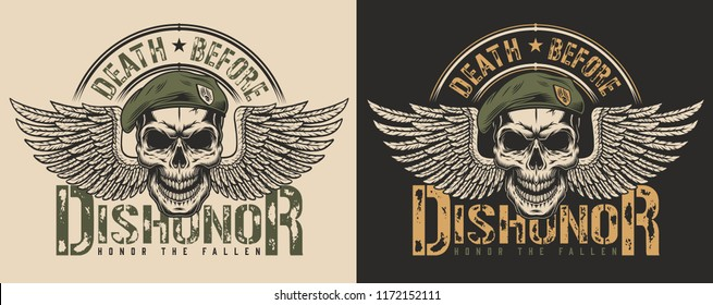 Skull in beret and wings t-shirt print concept. Vector illustration