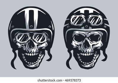 Skull biker in helmet and glasses, two versions.