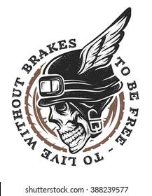 Skull biker helmet with wings. Emblem, symbol, t-shirt graphic.
