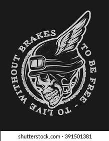 Skull biker helmet with wings. Emblem, symbol, t-shirt graphic. For dark background.