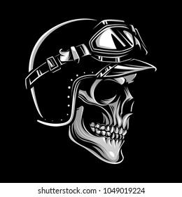 Skull biker logo emblem