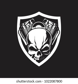 skull biker with motorcycle black and white vector logo template