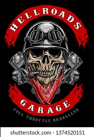 skull biker with piston and red bandana, motorcycle club logo vector