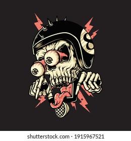 Skull biker rider horror graphic illustration vector art t-shirt design