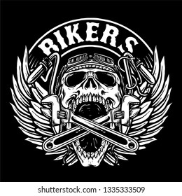 skull biker with tools and chopper handle bar vector