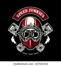 skull of biker in t-shirt style design, texture is easy to remove
