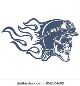 Skull biker vintage logo emblem