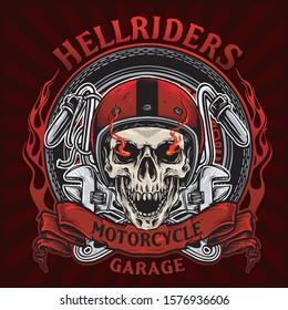 skull bikers badge vector design